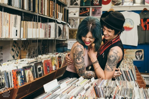 Rock and Roll couple engagement picture session at Dave's Records Shop in Chicago