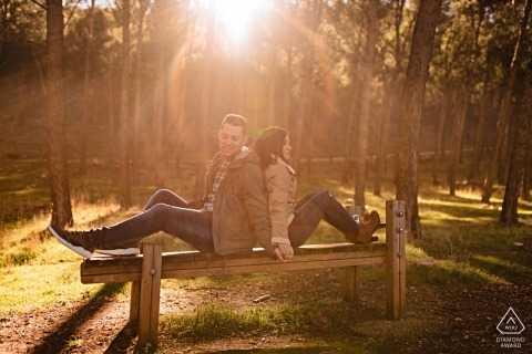 Wooden bench couple engagement image from Jaén, Spain