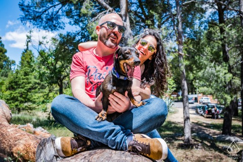 Colorful couple with a dog engagement picture session in Jaén, Spain