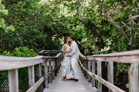 Wooden bridge engagement portraits at Bill Baggs Cape Florida State Park, Miami, FL
