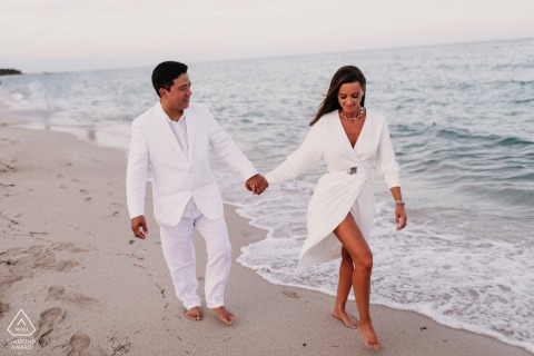 Ocean and sea engagement photos at The Setai, Miami Beach, FL