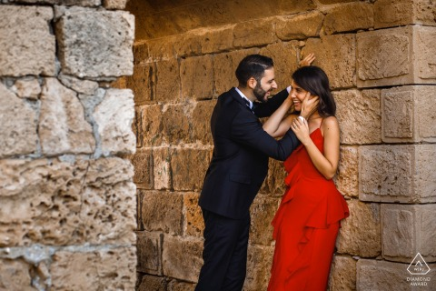 Old stone wall engagement picture session in Kyrenia, Cyprus