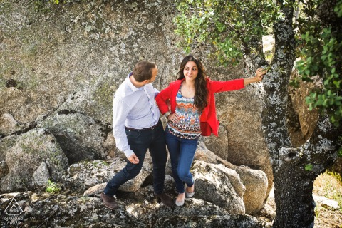 Humorous engagement photography in Torrelodones, Madrid, Spain