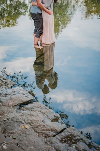 Reflected love engagement photos at Witten Ruhrgebiet