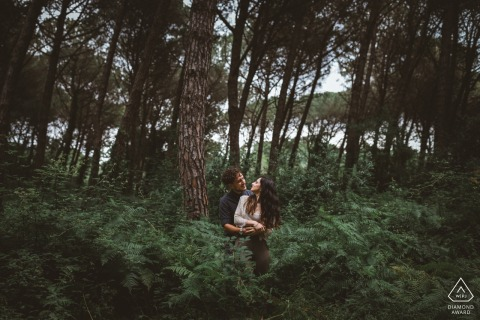 Selvacava Woods portrait of engaged couple in the trees