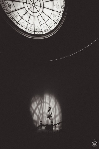 Hungary Budapest Várkert Bazár portrait of a couple under a large window light