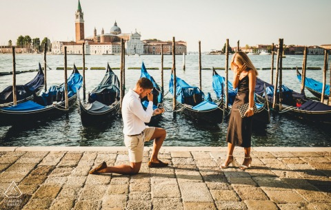Venice Veneto couple engagement ring shoot by the boats docked