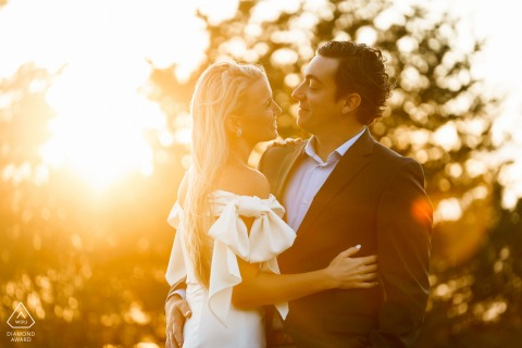 Golden hour engagement photos at Castle Hill, Newport, RI