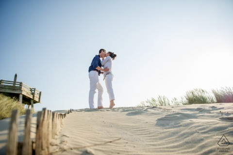 Le Touquett France	Love on the beach during an engagement shoot at the sand dunes