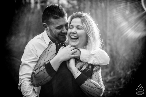 France Picardie crazy laughs from a couple during their black and white engagement portrait session