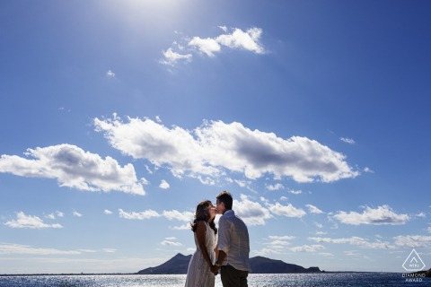 Levanzo Island - Sicily - Italy Pre wedding photo session under the blue sky and clouds