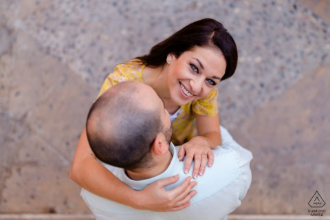 Jaén, Spain overhead Pre-Wedding portrait of a couple in a tender embrace