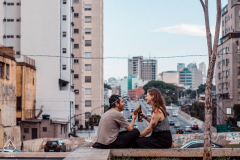 Roosevelt Square, São Paulo – Brazil urban engagement session with a couple sitting above the busy city