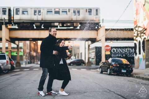 West Loop Chicago engagement shoot on the streets with some Champagne Spray