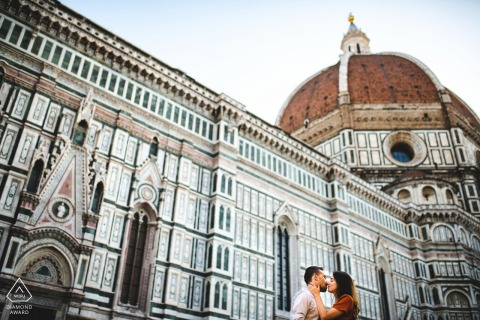 Engagement photo in Florence at the Duomo with lots of patterns and graphic lines