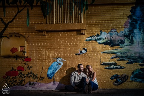 Chicago Illinois ping tom park engagement photo session with a couple and a mural wall