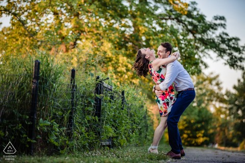 Humboldt Park, Chicago couple having fun during a relaxed engagement photo session