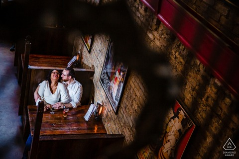 IL engagement session with a Chicago couple in a bar