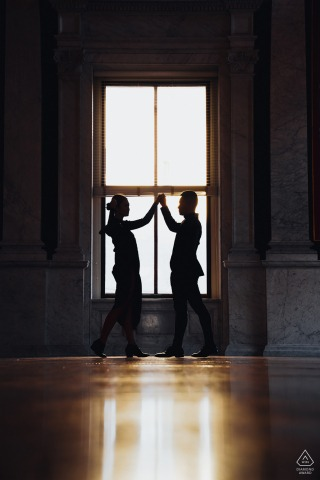 The Liberty of Congress couple engagement portraits - They knew each other from a dance.