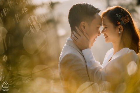 DaLat, Vietnam engagement photo session in the afternoon sunlight with a tender and loving touch