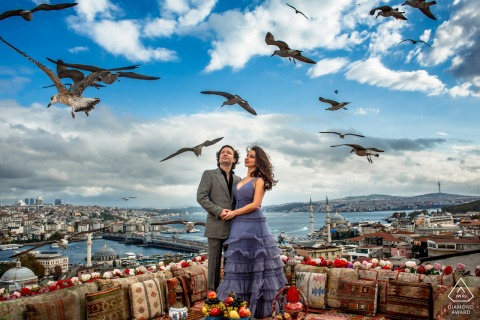 Istanbul, suleymaniye seagull pre wedding portrait session over the city