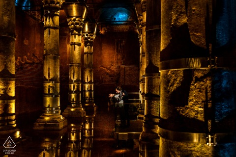 yerebatan cistern, istanbul pre wedding session with a couple dipping indoors