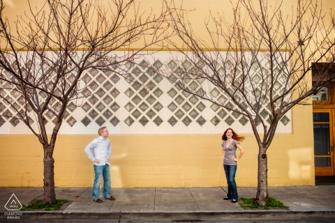 San Francisco Urban Engagement Photo session with - Two persons. Two trees.