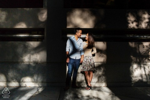 UC Berkeley pre-wedding photography for engaged couple with love in light and shadows