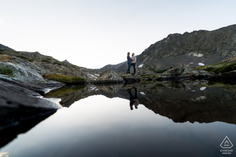 CO pre wedding and engagement photography in Breckenridge with a Couple and their lake reflection
