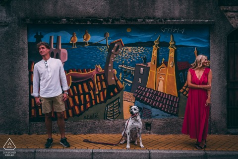 Slovenia pre wedding and engagement photography in Volosko, Croatia with a dog and some cool graffiti