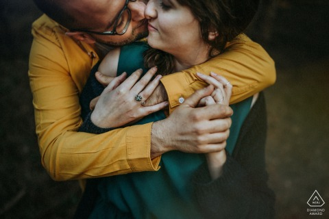 FR pre wedding and engagement photography in Island of Re with A couple embracing each other