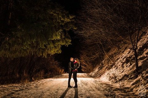 BG pre-wedding photo session with an engaged couple at Vitosha mountain near Sofia, Bulgaria with Two lovers on a night walk in the mountain