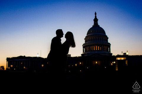 DC engagement photoshoot & pre-wedding session at Capitol Hills, Washington DC	with the couple in front of the capitol