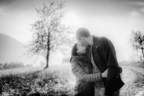IT engagement photoshoot in black and white in the Schio (Vicenza - Italy) Countryside