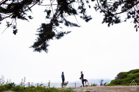 "California pre wedding and engagement photography from San Francisco showing us ""When Harry met Sally"" with furry babies"