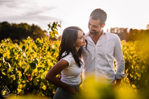 FR pre-wedding photo session with an engaged couple at the Montpellier France vineyards