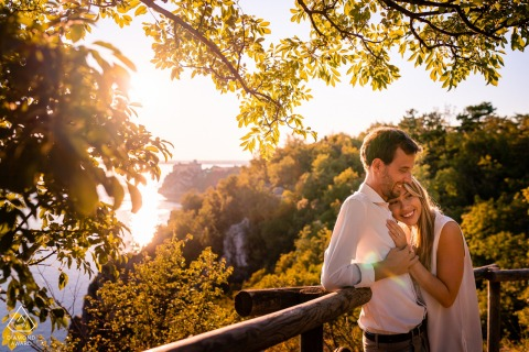 IT pre wedding and engagement photography from Duino, Trieste, Italy with nice Hugs at sunset