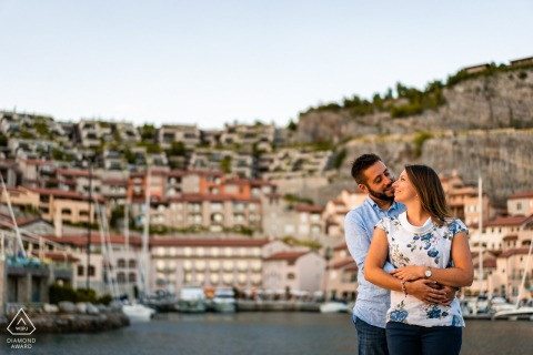 Portopiccolo, Trieste, Italy pre wedding portrait session with engaged lovers during a Sunset portrait