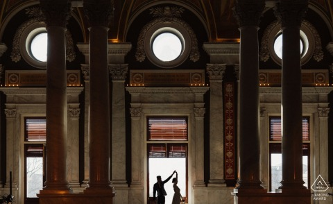Virginia pre wedding portrait session with engaged lovers dancing at the Library of Congress - They are each other's first love