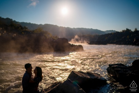Virginia outdoor pre-wedding photo session at Sunrise at Great Falls, with steam coming off the river