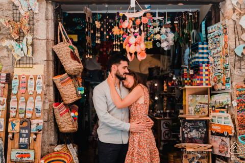 Castellane - Alpes de Haute Provence little shop during pre-wed engagement photo shoot