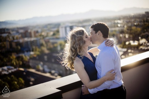 Phoenix, Arizona Couple on their rooftop during engagement photo shoot