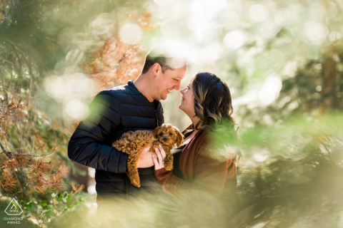 Truckee, CA couple embraces in the pine trees holding the puppy that came with a marriage proposal in the woods during a creative portrait session