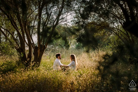 Montpellier FranceEngagement couple loving nature during a pre-wed portrait session