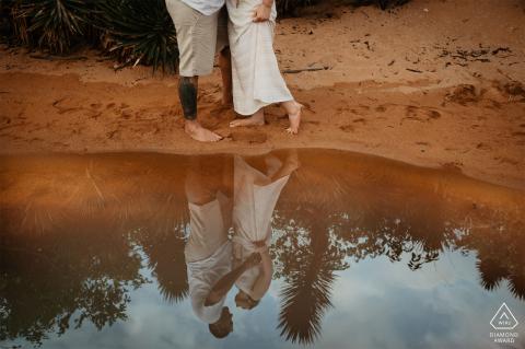 Praia dos Hóspedes, Aracruz, Espírito Santo, Brazil pre-wed photo - couple reflected in water