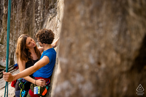 Great Falls National Park Rock Climbing engagement photo session