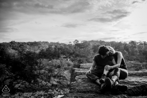 Great Falls National Park Rock Climbing Engagement Session in black and white