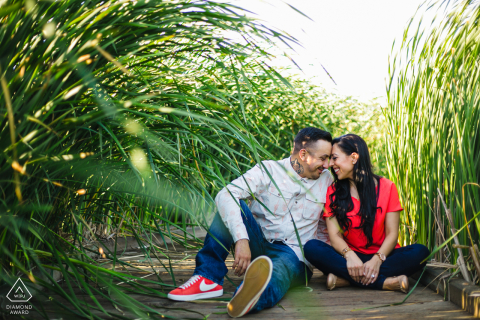 Coyote Park, Fremont, California Summer Love couple during an engagement photo session