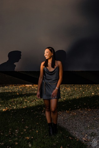 New Jersey girl smiles to her fiance shadow during a pre-wed picture session