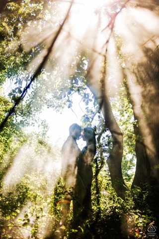 Bagnoregio - italy couple in the middle of the mysterious woods during a creative pre-wed portrait shoot